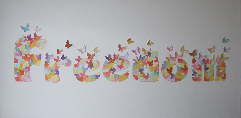 'Freedom' - in ink and mixed media - approx. 120cm x 60cm