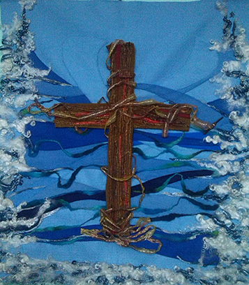 'The Living Cross' machine and hand needle felted with steel detailing.- approx. 70cm x 80cm