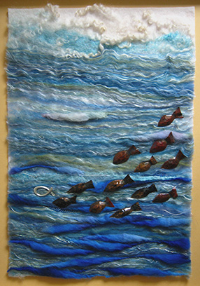 'Follow the Leader' - Hand needle felted with copper and sterling silver detail - approx. 30cm x 44cm