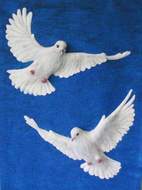Doves of Peace - needle felted original with detailing in mixed media